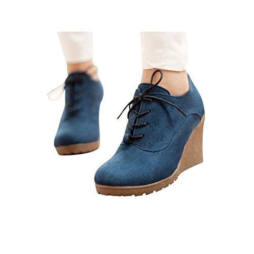 Buganda Women's Fashion Casual Outdoor Low Wedges Heels Scrub Leather Lace Up Booties - Rubber Heel Wedge