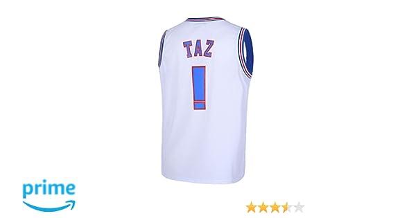 ff738d293c4 Amazon.com: Borolin TAZ ! Mens Space Jam Jersey Basketball Jersey White:  Clothing