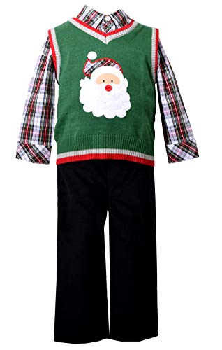Bonnie Jean 3 Piece Sweater Vest and Pants Christmas Set with Santa Applique 3T