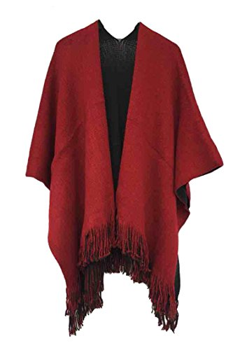 Timemory Womens Winter Solid Knitted Cashmere Poncho Capes Shawl Sweater Purplish Red Purplish Red One - Day Delivery Free