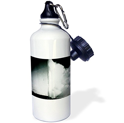 """3dRose wb_77361_1""""Vintage Yellowstone National Park Geysers Victor Animatograph Co. 3"""" Sports Water Bottle, 21 oz, White"""