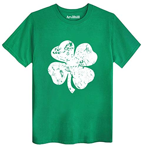 St Patricks Day Men's Screen Printed Retro Green Irish Distressed Shamrock T Shirt Tee Ireland Clover M
