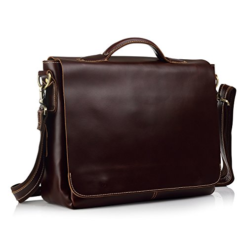 "Secret Felicity SFG388 Unisexal 15"" Italian Leather Handmade Brifecase Laptop Bag by Secret Felicity"