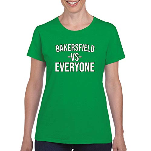 Donkey Threads Bakersfield Vs Everyone City Pride Womens Graphic T-Shirt, Kelly, Small -