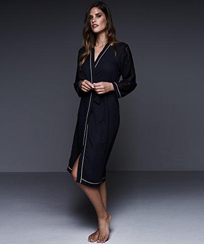 Hunkemöller Damen Langer Kimono Chiffon Lace 117182 Schwarz M/L