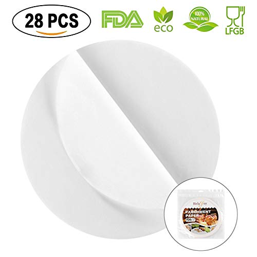 HelaJoy 8 Inch Parchment Paper Rounds - 28pcs Loaf Cake Liners Cake Paper, Silicone Parchment Paper Sheets for Baking, Round Greaseproof Paper Sheets, Round Parchment Paper for Baking, Oven, Toaster