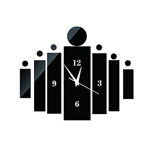 DIY Wall Clock Made of Acrylic Material,Rectangles, Looks Like Mirror, Modern Design, for Home Living Room Bedroom Kitchen Baby Child Novelty Luxury Crystal Wall Silent Watch Extra Large, New, Black