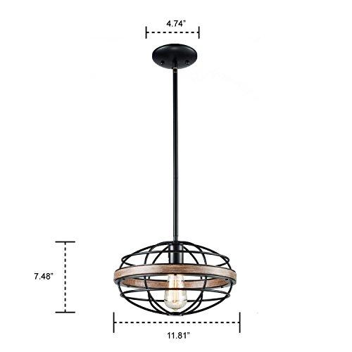 DANXU Lighting Vintage Retro Hanging Pendant Wrought Iron Wood Paint Ceiling Light Pendant Light by DANXU (Image #4)