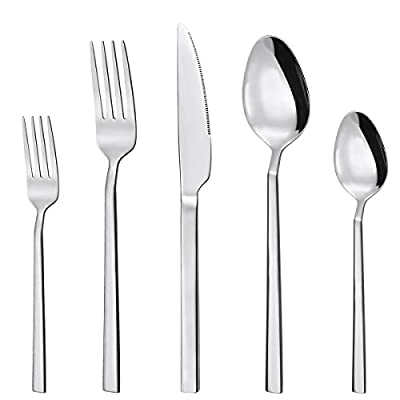 40 Piece Silverware Set, Stainless Steel Flatware set for 8 by Hippih, Mirror Polished, Dishwasher Safe - SERVICE FOR 8 - Come with 8 Dinner Knifes, 8 Dinner Forks, 8 Dinner Spoons, 8 Salad/Dessert Forks, 8 Teaspoons. HIGH QUALITY - Forged from 18/10 stainless steel, the proper thickness and weight to stay comfortable. SAFE AND DURABLE - Dishwasher safe(no harsh detergents), rust and corrosion protection, keep shiny, smooth edges protect your palm. - kitchen-tabletop, kitchen-dining-room, flatware - 4148Qw4KcsL. SS400  -