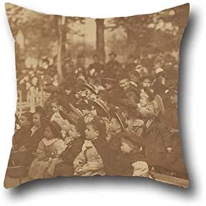 18 x 18 inch / 45 by 45 cm oil painting EugÚne Atget - (Guignol, Jardin du Luxembourg) cushion cases ,twin sides ornament and gift to dance room,dinning room,lounge,girls,couch,gf