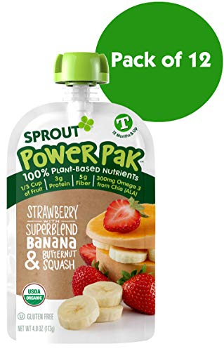 Sprout Organic Stage 4 Toddler Food Power Pak Pouches, Strawberry w/ Superblend Banana & Butternut Squash, 4 Ounce (Pack of 12)