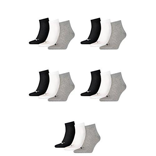 15 pair Puma Sneaker Quarter Socks Unisex Mens & Ladies 882 - grey/white/black