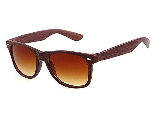 Highdas New Lunettes de soleil mode PC Wood Grain de soleil Miroir Lentille