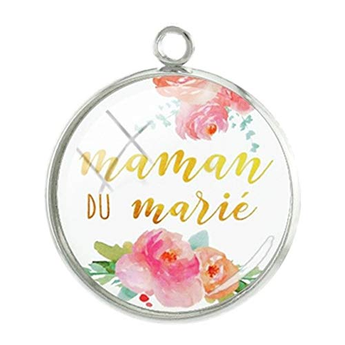 Pendants -1Pc Maman Letters Words Pendants Charms French Mother's Day Gift Handmade DIY 20Mm Glass Cabochon Personalized Jewelry - Mm100