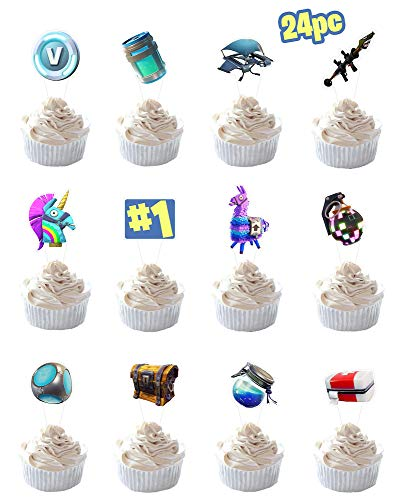 Party Hive 24pc Gaming Cupcake Toppers for Birthday Party Event Decor ()
