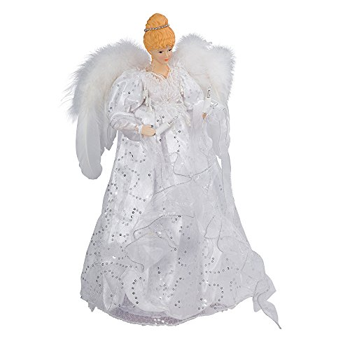 0-Light White/Silver Lighted Angel Treetop ()