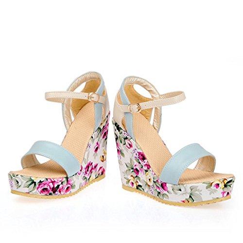 TAOFFEN Mujer Moda Tacon De Cuna Sandalias Tacon Alto Plataforma Al Tobillo Floral Zapatos Azul