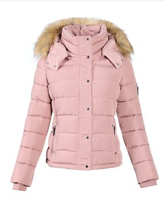 Royal Matrix Women's Heavy Short Quilted Puffer Coat with Removable Faux Fur (Pink, Medium)