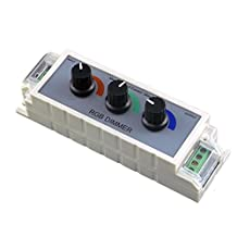 DC12V-24V 9A PWM RGB LED Dimmer Controller - 3 Channel Output for RGB Multi-color LED Strip Lights and Single Color LED Strip Lights