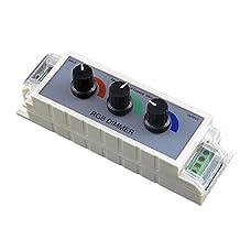 Torchstar KBDM-1224V9A-RGB3CN PWM RGB LED Dimmer Controller with 3 Channel Output for Multi-Color and Single Color Strip Lights, DC, 12V-24V, 9 Amp