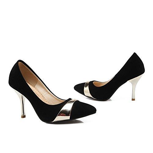 Balamasa Femme Fashion En Cuir Couleurs Assorties Talon Imitation Cône-pompes-chaussures, Noir (noir), 35