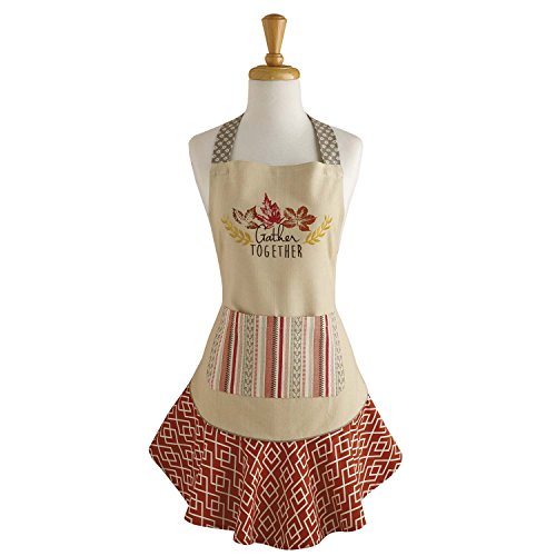 DII Cotton Thanksgiving Kitchen Apron with Pocket and Extra Long Ties, 28.5 x 26