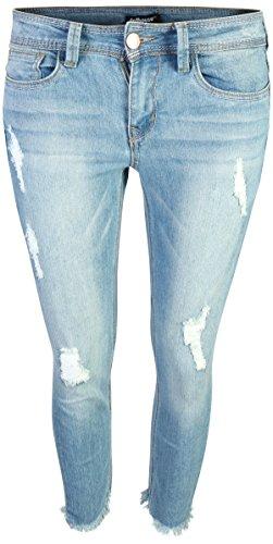 dollhouse Women\'s Distressed Stretch Frayed Hem Skinny Capri Jeans, Light, Size (Jeans Doll Clothes)