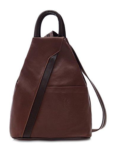Dark Leather Bag Backpack Super amp; Rucksack Coffee Italian Soft Light Shoulder qxAg4