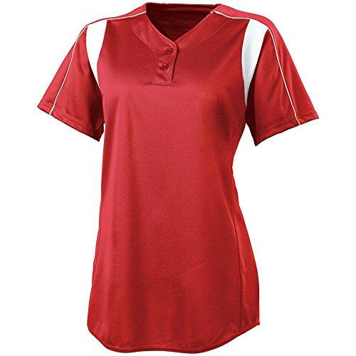 (High Five Girls Double Play Softball Jersey,Scarlet/White,Medium)