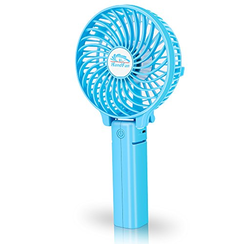 Mini Handheld Fan, VersionTech Foldable Personal Portable Desk Desktop Table Cooling Fan with USB Rechargeable Battery Operated Electric Fan for Office Room Outdoor Household Traveling (3 Speed, Blue)