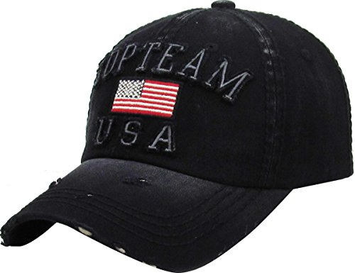 KBETHOS KBVT-662 Blk Top Team USA Vintage Baseball Cap Distressed Dad - Team Hat Usa Trucker