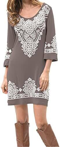 Levaca Womens 3/4 Sleeve Scoop Neck Heart Print Casual Dress