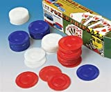 "Your casino supplies will not be complete without these poker chips. The poker chips are interlocking, washable and easy stacking. 100 pcs. per box. Made of plastic. Approximately 1½"" Diam."