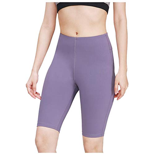 ErYao Women's High Waist Tummy Control High Compression Workout Running Bike Shorts Yoga Shorts (Purple, S)