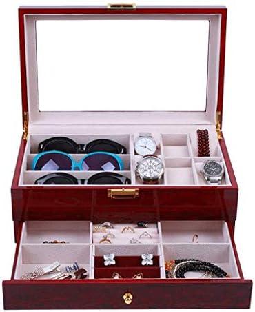 SMEJS Uhr Schmuckschatulle Uhr Sonnenbrille Vitrine Organizer Double-La Glas Top Schmuck Aufbewahrungsbox