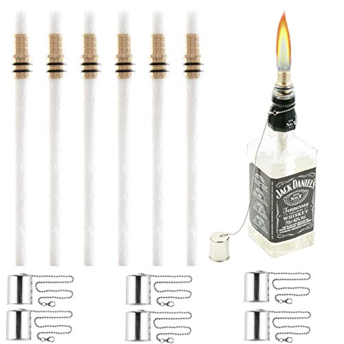 Table Torch Copper - Wine Bottle Torch Kit 6 Pack, Includes 6 Long Life Torch Wicks, Copper Lamp Cover & Brass Wick Mount(13.7 Inch,Bottle not Included)