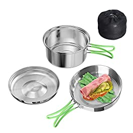 Chihee Stainless Steel 2 Pieces Kit 0.7L Frying Pan and 1.3L Pot with Lid Camping Cookware Set Folding Hand Portable Lightweight Cooking Mess Kit for Outdoor Hiking Backpacking Picnic