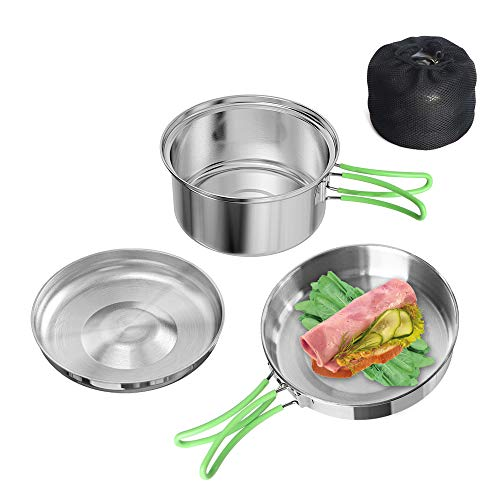 Stainless Steel 2 Pieces Kit 0.7L Frying Pan and 1.3L Pot with Lid Camping Cookware Set Folding Hand Portable Lightweight Cooking Mess Kit for Outdoor Hiking Backpacking Picnic