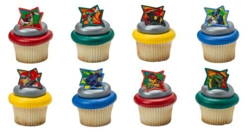 CakeDrake POWER Rangers DINO CHARGE 24ct Cake CUPCAKE RINGS Party FAVOR Toppers Decoration