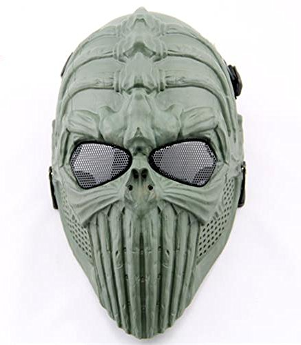 Halloween Horror Devil Headgear Ghost Rider Protective Helmet Cos (Green)