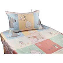 J-pinno Cute Cartoon Puppy Cat Mouse Printed Twin Sheet Set for Kids Girl Children, 100% Cotton, Flat Sheet + Fitted Sheet + Pillowcase Bedding Set (Puppy)
