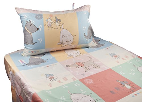 Price comparison product image J-pinno Cute Cartoon Puppy Cat Mouse Printed Twin Sheet Set for Kids Girl Children, 100% Cotton, Flat Sheet + Fitted Sheet + Pillowcase Bedding Set (puppy)