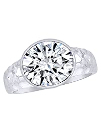 Oval Cut White Cubic Zirconia Hammered Band Ring In 14K White Gold Over Sterling Silver (3.5 Ct)