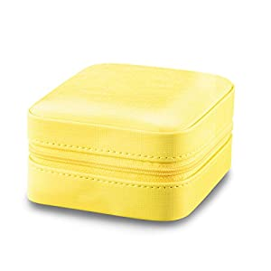 Vlando Small Travel Jewelry Box Organizer - Faux Leather Storage Case for Rings Earrings Necklace - Best Gifts Choice for Girls Women (Yellow)