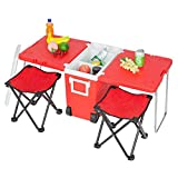 VINGLI Upgraded Multi-Function Insulated Beverage Rolling Cooler, Picnic Camping Outdoor w/Table & 2 Portable Foldable Camping Fishing Chair Stool with Carrying Bag (Red)
