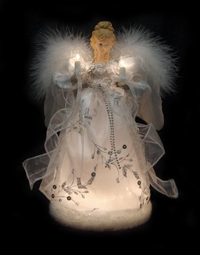 Amazon Com Vickerman Ice Palace Lighted White And Silver Angel  - Christmas Tree Angel Toppers
