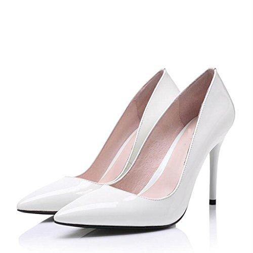W&LM ms tacones altos sandalias punta Solos zapatos bueno zapatos casuales Los zapatos de la boca baja White