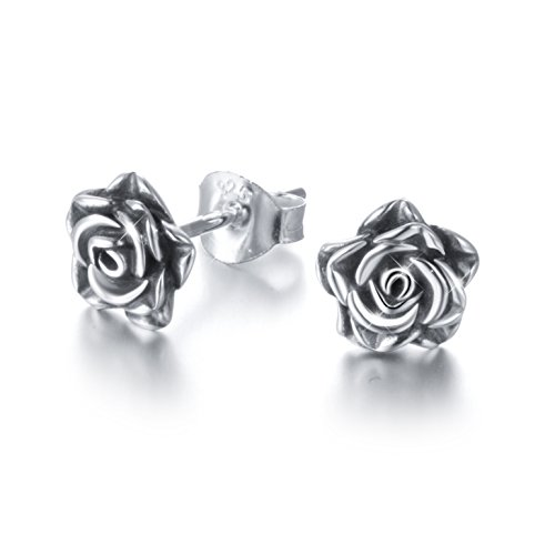 ALPHM S925 Sterling Silver Rose Flower Stud Lotus Earrings for Women Girl
