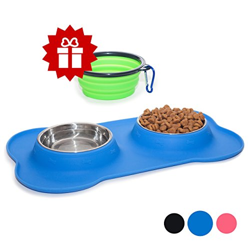 Old Navy Dog - KEKS Small Dog Bowls Set of 2 Stainless Steel Bowls with Non-Skid & No Spill Silicone Blue Stand for Small Dogs Cats Puppy & Collapsible Travel Pet Bowl