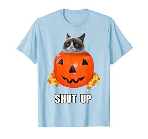 Grumpy Cat Halloween Shut Up Pumpkin Candy Corn T-Shirt ()